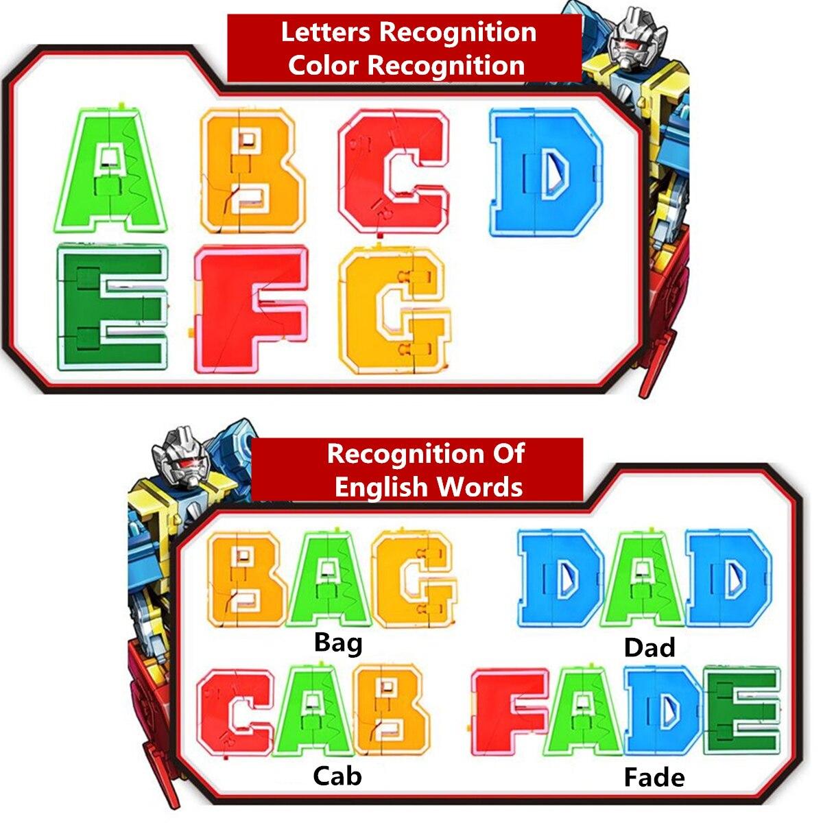 26 pièces lettre anglaise Robot déformation Alphabet Transformations Puzzle dinosaure Robot bricolage blocs de construction enfants jouets éducatifs - 6