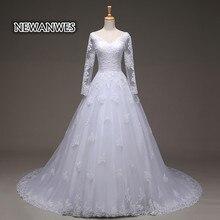 Vestido De Noiva Cheap Vestido De Festa Longo Sexy Sheer Full Sleeve Lace Appliques Wedding Dress 2017 Bridal Gown Casamento