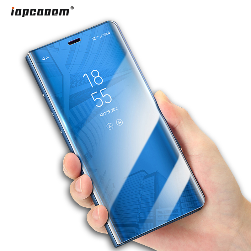 A6 + 2018 Case for Samsung Galaxy A6 2018 Case Mirror Flip Standing Smart View Leather Phone Cover For Galaxy A6 Plus 2018 Coque