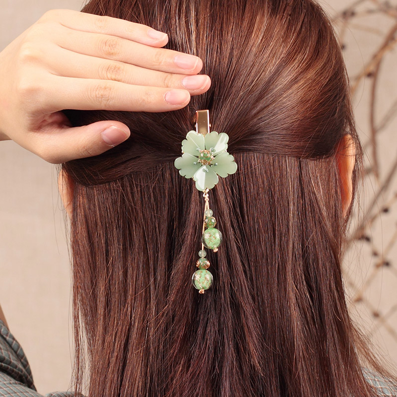 Barrettes de cheveux de fleur de glaçure de couleur Fine gland Style chinois pince à cheveux bijoux alliage de Bronze accessoires de cheveux ethniques anciens