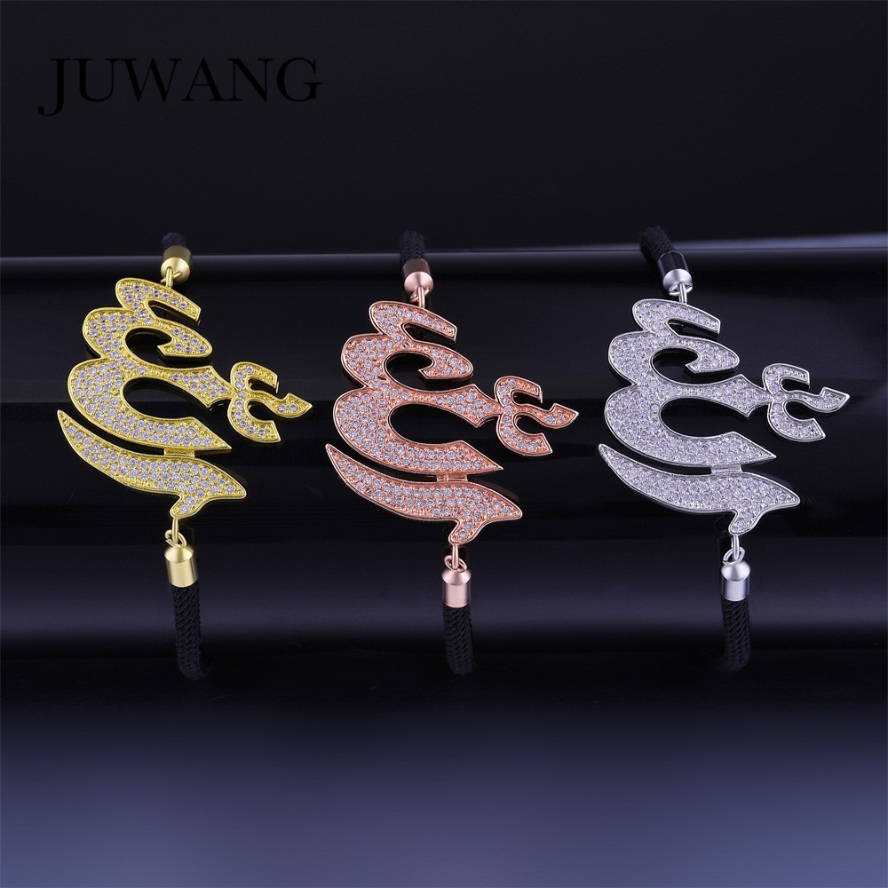 JUWANG Wholesale Silver Color CZ Religious Muslim Islamic Allah Charm Bracelets for Woman Black Rope Bracelet Jewelry