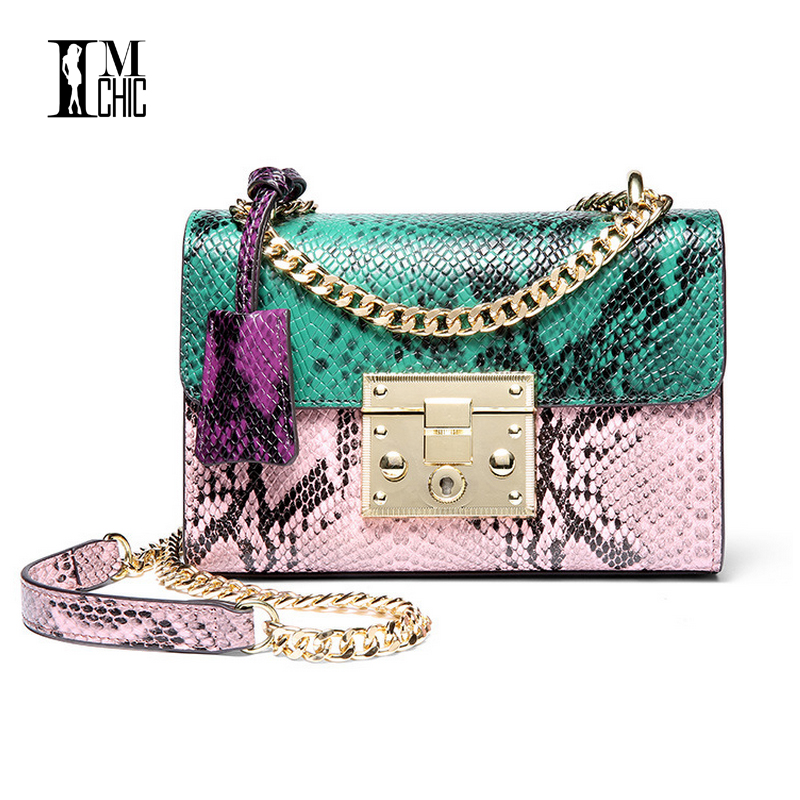 IMCHIC 2017 Trend Women Messenger Bags Split Leather Embossed Serpentine Contrasting Colors Shoulder Chain Fashion Flap Handbags 2017 fashion all match retro split leather women bag top grade small shoulder bags multilayer mini chain women messenger bags