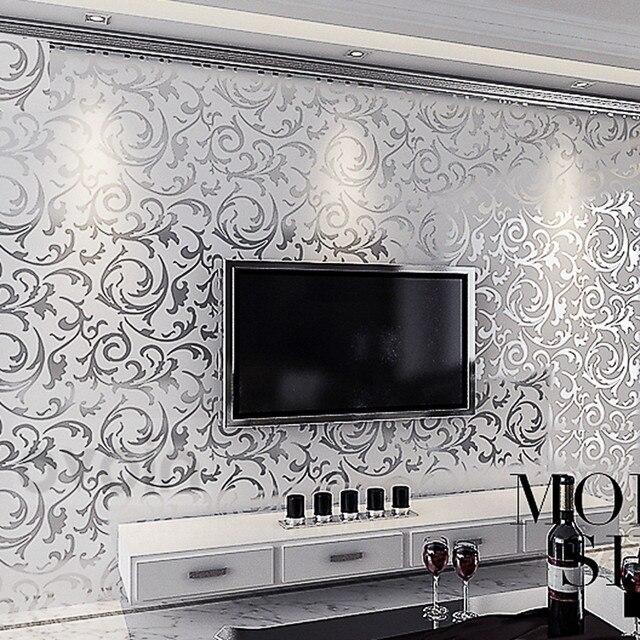 Blätter Muster Luxus Grau Tapete Moderne Grau Vinyl Wand Papierrolle  Wohnzimmer Schlafzimmer Hintergrund Dekoration