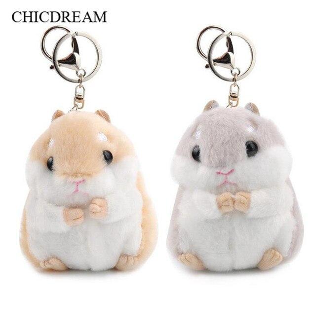 Novo Mini Hamster Chaveiros Chaveiros Faux Rabbit Fur Pompom Fofo Bugigangas Carro Bolsa Pingente Chian Chave Titular Anel Para As Mulheres