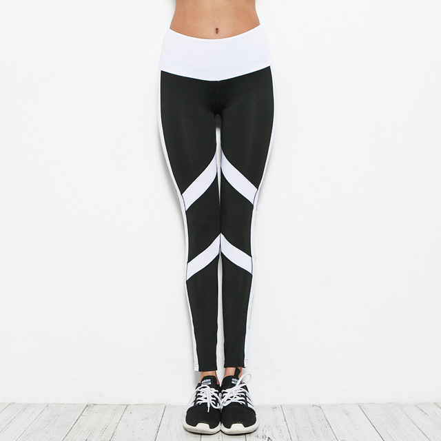 780755de804a7 Yoga Pants women Tights leggings stripes Patchwork slim splice Sports  leggings Running clothes Female Fitness legging