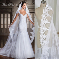 MissRDress Wedding Veil Soft Tulle Lace Appliqued Veils With Comb Veils Long Bridal Veil For Bride Wedding Accessories JKm19