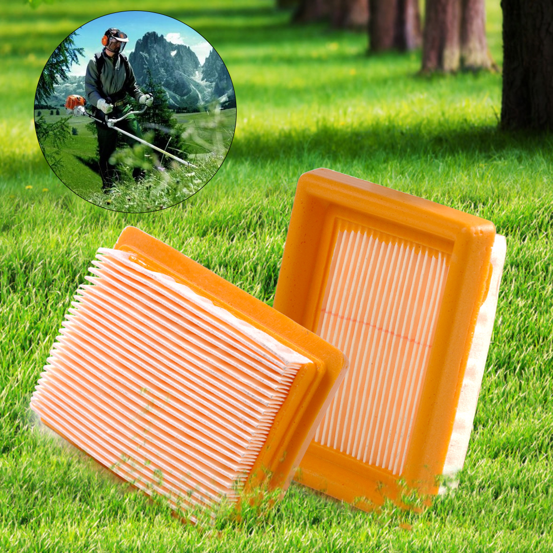 LETAOSK New Air Filter Replacement for STIHL Trimmer FS120 FS200 FS250 FS300 FS350 MM55 2 pcs lot air filter for stihl 4224 140 1801a 4224 140 1801a ts700 ts800 new