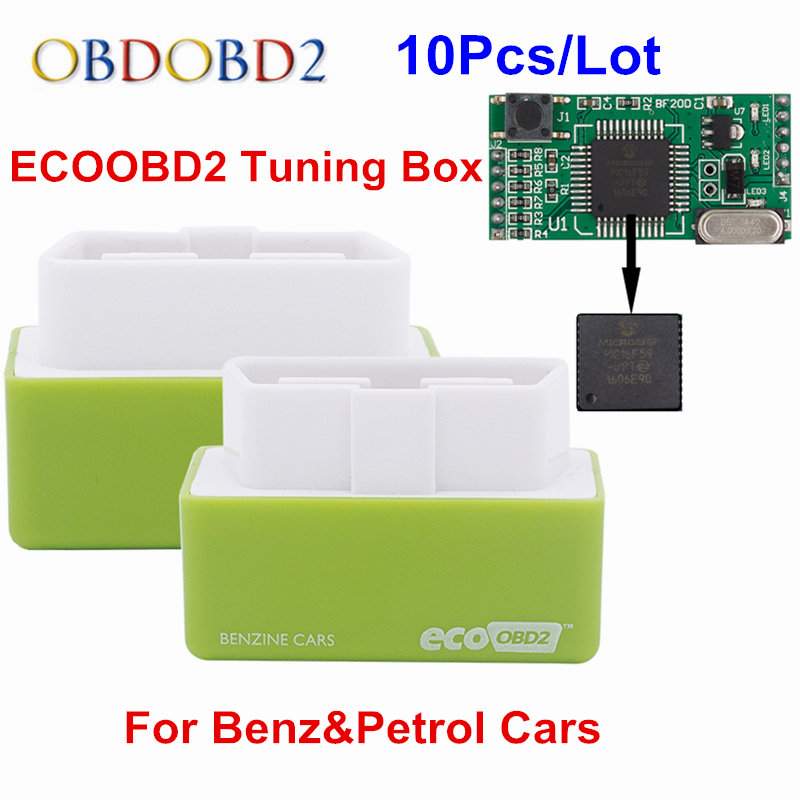 10pcs/Lot NitroOBD2 EcoOBD2 ECU Chip Tuning Box 15% Fuel Save Economy Nitro OBD2 Eco OBD2 For Benzine Diesel Cars More Power