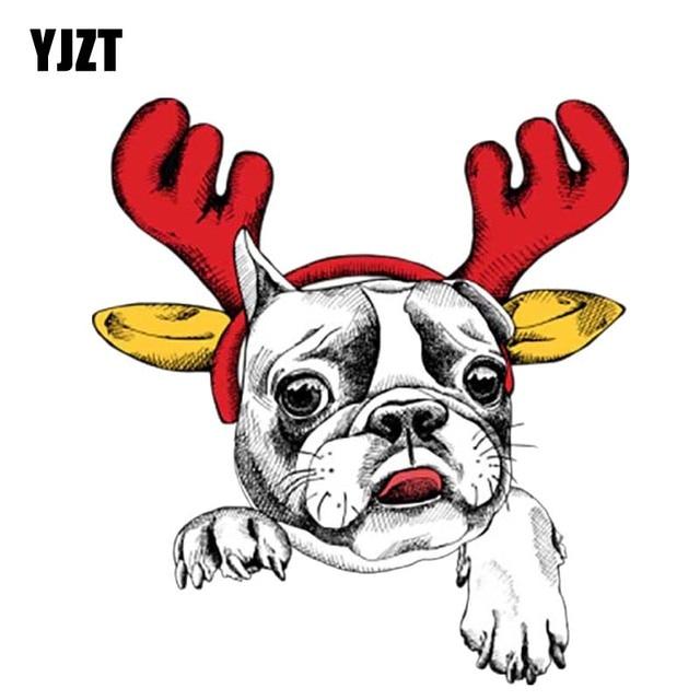 yjzt 135cm147cm a cartoon dog with a christmas moose car sticker pvc - Christmas Moose