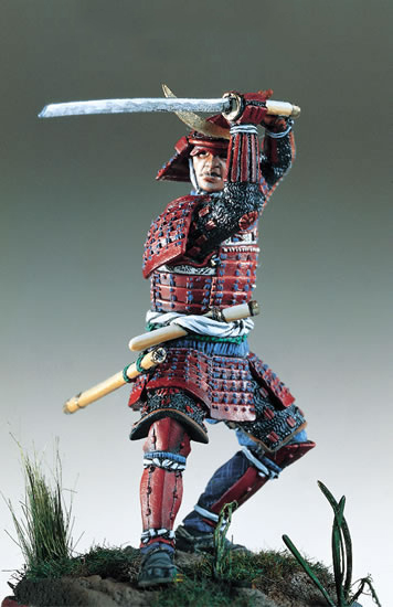 1/32 54mm Samurai Warrior, Ancient Period Red Coat 54mm  Toy Resin Model Miniature Kit Unassembly Unpainted