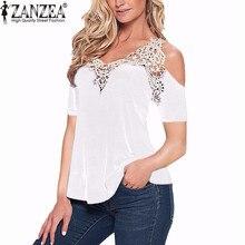 Zanzea tee blusas лоскутное блузка v сексуальный плеча летние шеи дамы