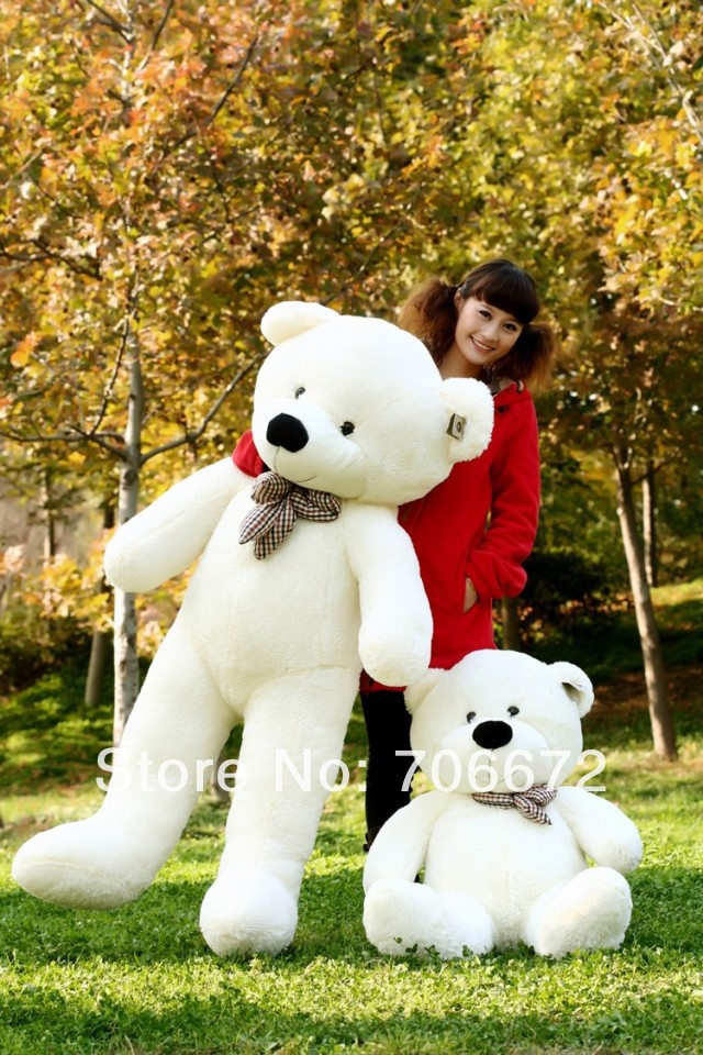 New stuffed white teddy bear Plush 220 cm Doll 85 inch Toy gift wb8418