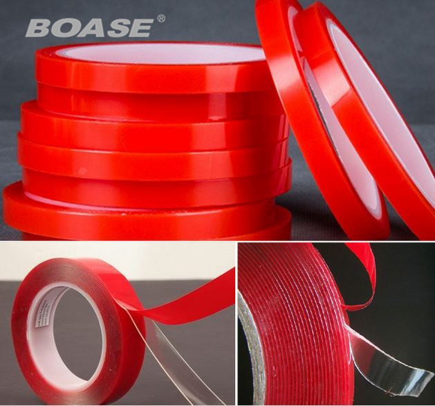 5stk / parti 6mm x 3 meter silikone rød dobbeltsidet klæbende klistermærke høj styrke akryl til telefon LCD scree