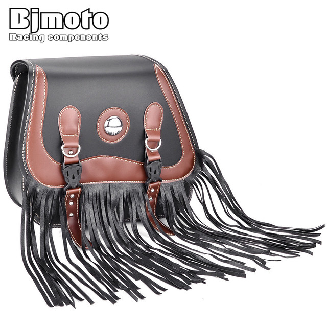 2ce3b8502f45 BJMOTO 2018 Motorcycle Saddle Bags Pu Leather Motorbike Side Tool Bag  Luggage For Harley Sportster XL 883 1200 Brown