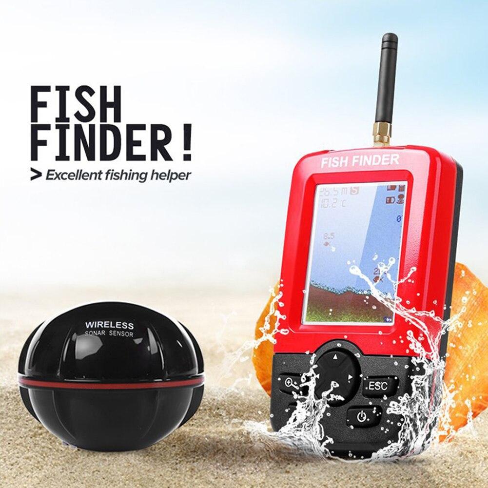 Équipement fournitures détecteur d'alarme mer extérieure écran LCD Sonar capteur bateau puissant rivière pêche sans fil détecteur de poisson Portable