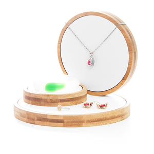 Image 1 - 3pcs/Set Bamboo Jewelry Display Stand Holder Showcase Organizer Bracelet Necklace Ring Earring Display For Window Display
