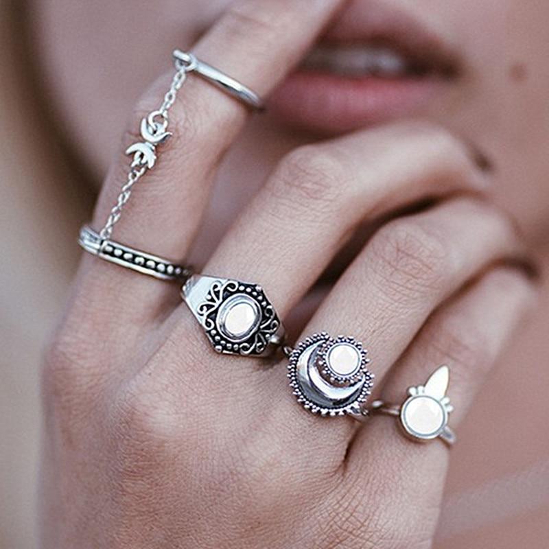 R061 5pcs Antique Tassel Ring Sets Bohems