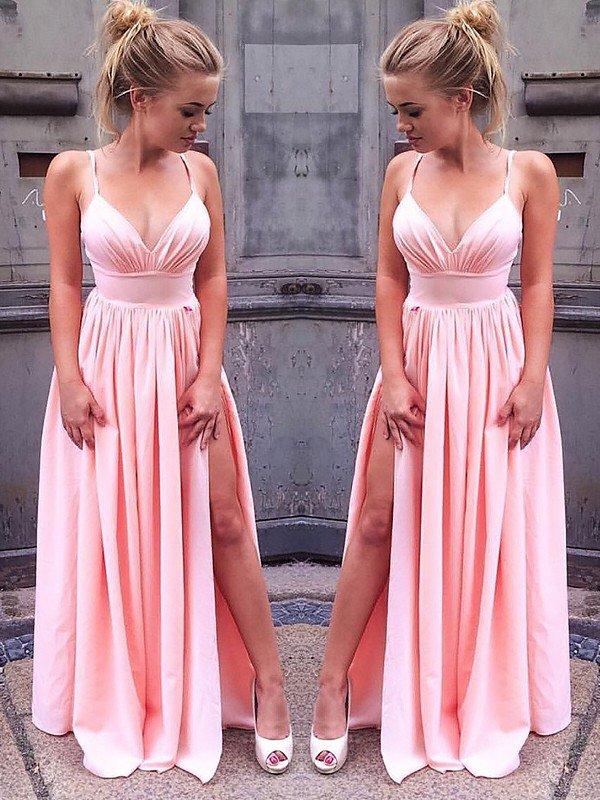 A-Line Silk-like Satin Spaghetti Straps Vestidos de fiesta largos elegantes de gala High Split   Prom     Dresses   Long Formal   Dress