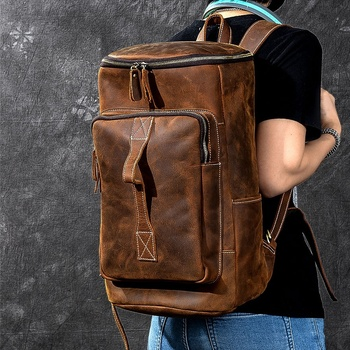 Top Crazy Horse Cowhide Genuine Leather Knapsack Male Computer bucket School Bags Vintage 100% Leather Rucksack Men Backpack