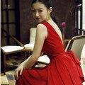 Elegante Ladie Do Vintage Sólido Preto Vermelho Sem Costas vestido de Verão Vestido Longo Mulheres Sexy vestido de Baile vestido de Festa Chiffon Retro Maxi Vestidos para venda