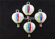 AE147 100 pièces Mixtes Émail Alliage feu ballon Charmes Pendentifs Montgolfière Charmes 29x19mm