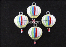 AE147 100Pcs Mixed Enamel Alloy fire balloon Charms Pendants Hot Air Balloon Charms 29x19mm