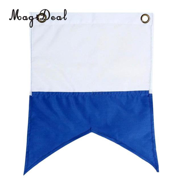 MagiDeal 60x72cm Polyester Blue White Dive Boat Flag Underwater Sign Universal Scuba Diving Floating Hanging Flag Water Sport