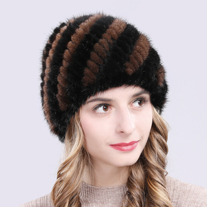 Image 4 - Russia New Winter Lady Natural Mink Fur Beanies Hat Knit Warm Striped Genuine Mink Fur Caps Women Good Elastic Real Mink Fur Hat