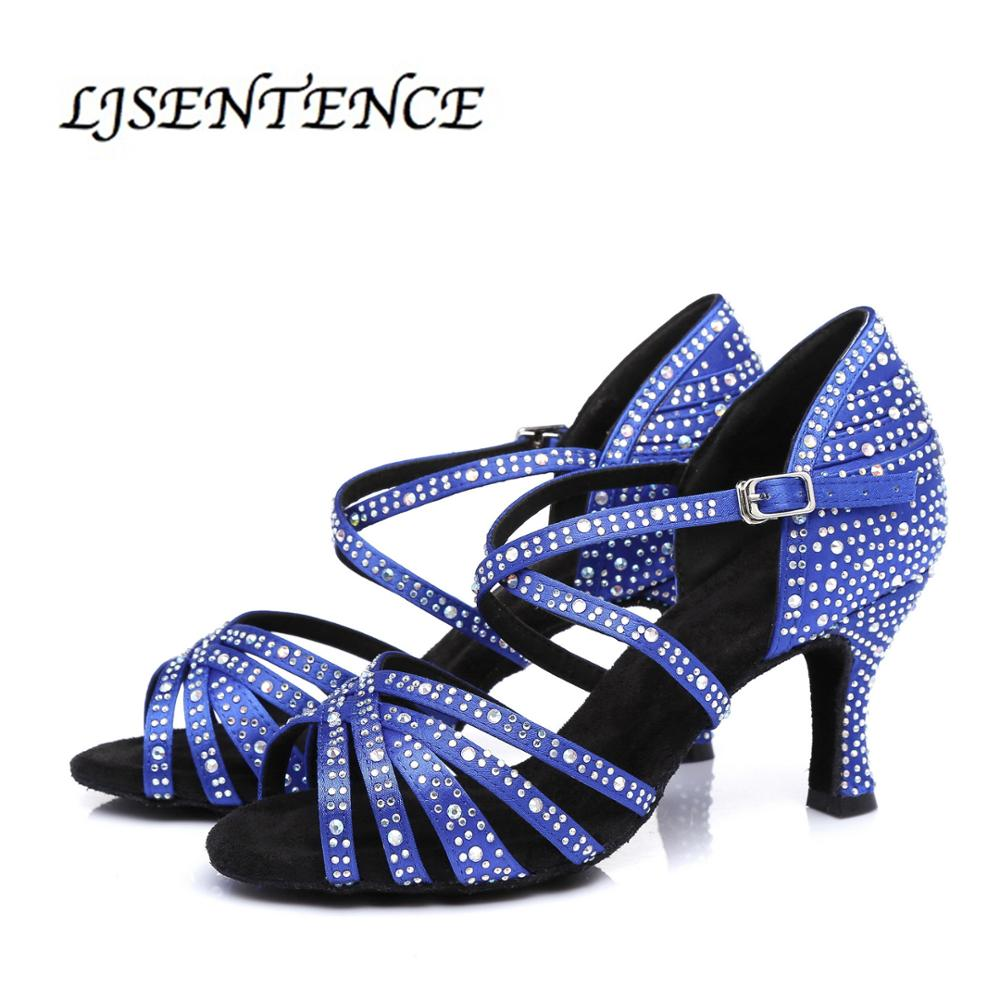 Latin dance shoes big small rhinestone shining blue satin women salsa social party ballroom shoes Cuba 7.5cm 8.5cm 9cm 10cm heel(China)