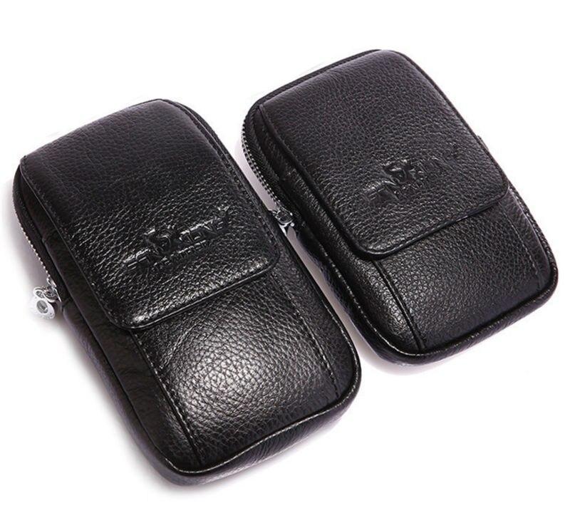 2017 New Men Äkta Läder Cell / Mobiltelefon Cover Case Hud Hip Belt - Bälten väskor - Foto 1