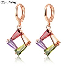 Olsen Twins Multicolor Cubic Zirconia Rose Gold Geometric Star Earrings Necklace Female Oorbellen boucle doreille недорго, оригинальная цена