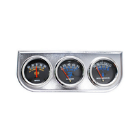 3 In 1 Kit Car Gauge Ammeter Water Temperature Oil Press Chrome Holder Triple Meter