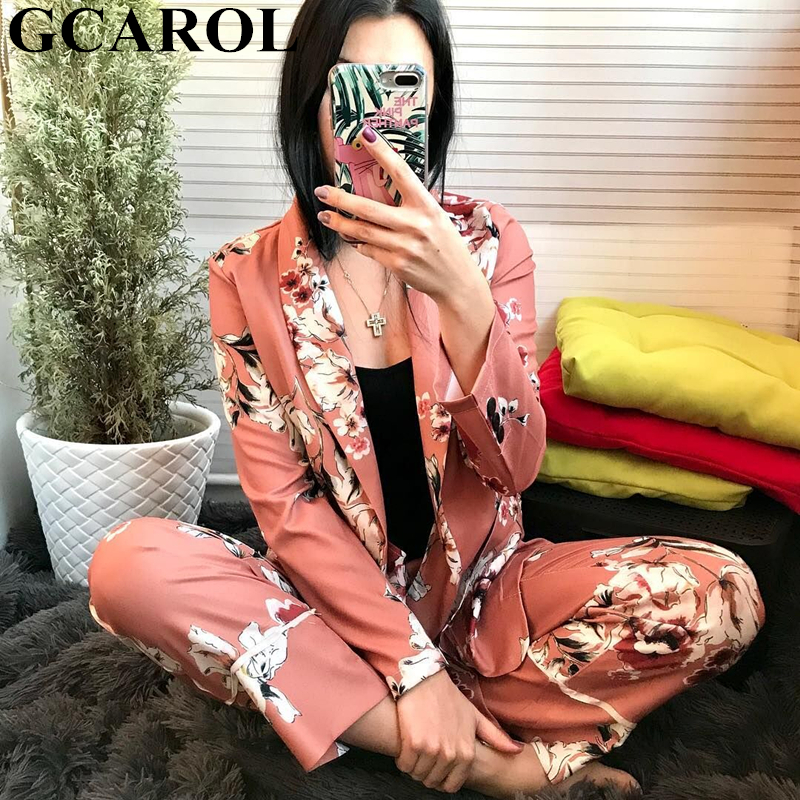 GCAROL New Fall Women Sets Flower Print Blazer Jackets Suit Coats Long Wide Leg Pants Two Pieces Casual Tops Pants Trousers