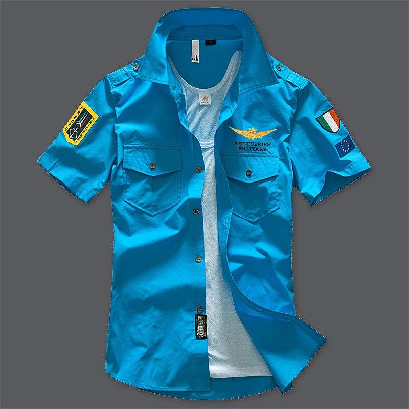 Модная повседневная мужская рубашка, летняя, Air Force One, рубашка с коротким рукавом, хлопковые рубашки, плюс размер, Азия, WA795 - Цвет: blue