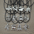 "2016 Fashion Jewelry Vintage Silver The 12 Zodiac Signs Pendant 17"" Short Children Necklace DY30  Free Shipping"