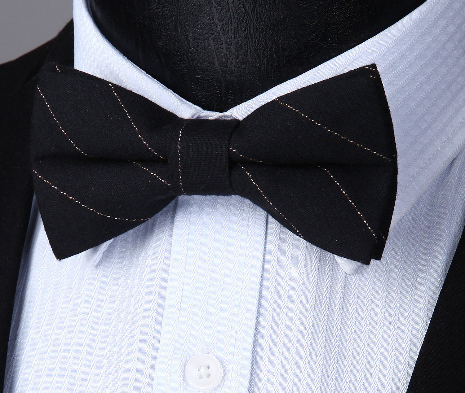 Adjustable Cotton Stripted &Check Formal Bowtie Men Butterfly Wedding Party Bowtie Pre-tied Bow Tie