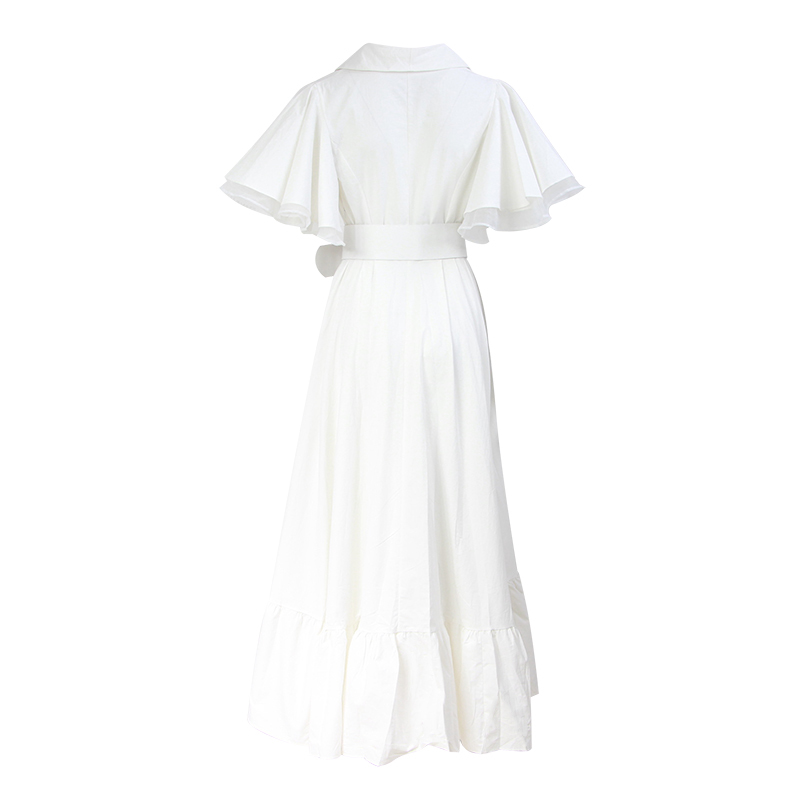 TWOTWINSTYLE Party Dresses Female V Neck Cloak Sleeve High Waist With Sashes Asymmetrical Long Dress For Women 19 Spring 8