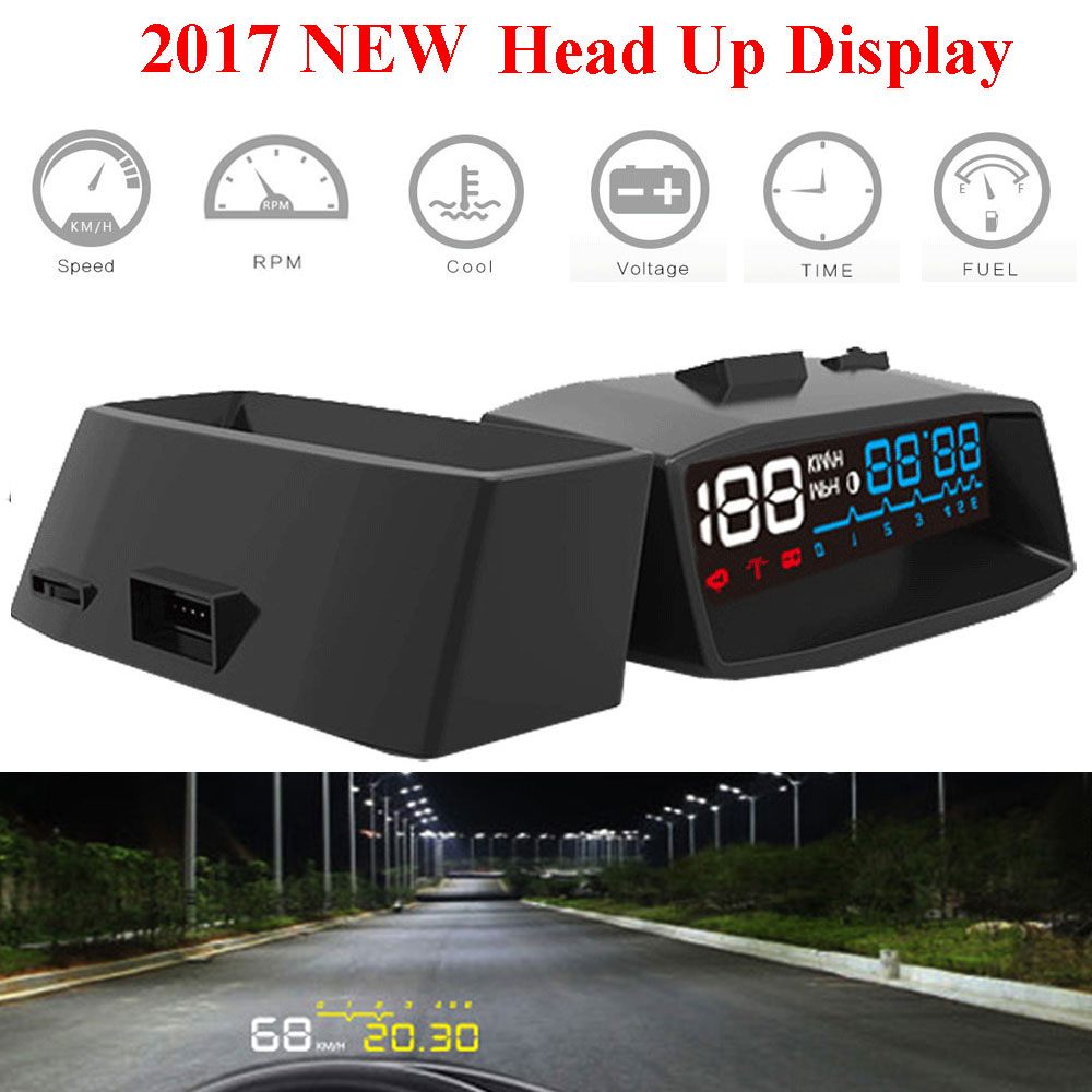 2017 Car HUD Screen Auto OBDII 4F Car HUD OBD2 Port Head Up Display KM/h MPH Overspeed Warning Windshield Projector Alarm System 4f car obd2 ii manual switch hud km h mph overspeed warning windshield projector alarm system head up display