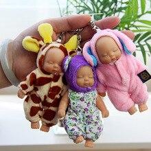 NEW Cute Sleeping Baby Doll KeyChains For Women Bag Toy Key Ring Fluffy Pom pom Faux Fur Plush Keychains