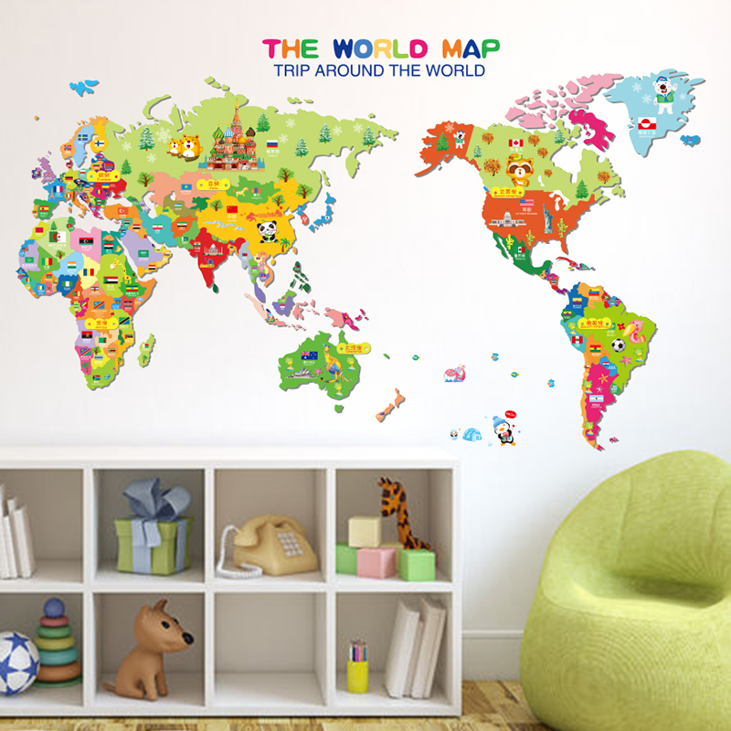 Hot sale diy colorful animals world map vinyl art wall sticker hot sale diy colorful animals world map vinyl art wall sticker decals kids learning educational nursery decor in wall stickers from home garden on gumiabroncs Gallery