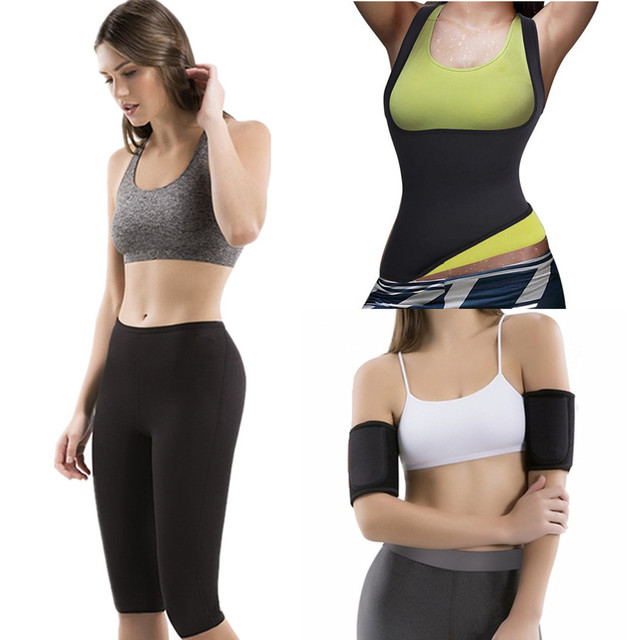 7203ea6460349 Hot Waist Trainer Shapers Slimming Shirts Sauna Sweating Weight Loss Arms  Fitness Women s Shapers Neoprene Hot