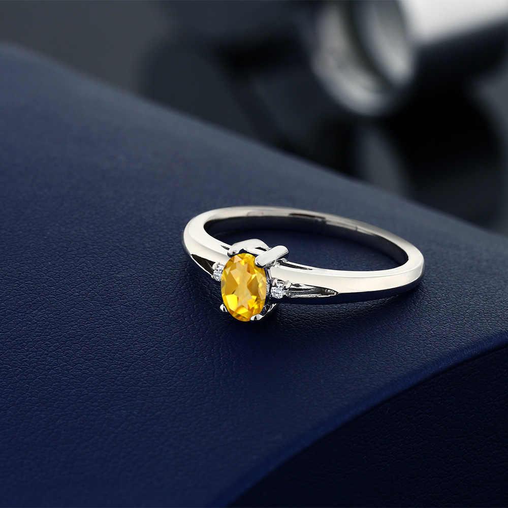 อัญมณีหิน King 0.44 Ct Natural สีเหลือง Citrine และสีขาว Topaz 925 Sterling Silver Women's Elegant แหวน