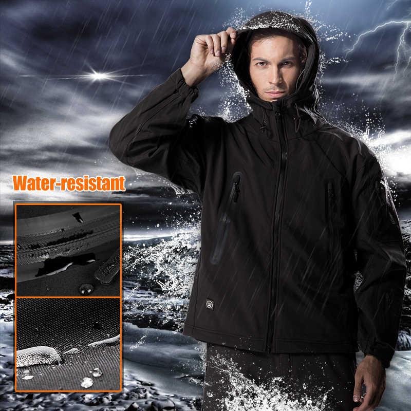 をフリー兵士屋外のキャンプの男性のソフトシェルジャケットインスタント防水防風コート熱生き抜く服大型 us サイズ
