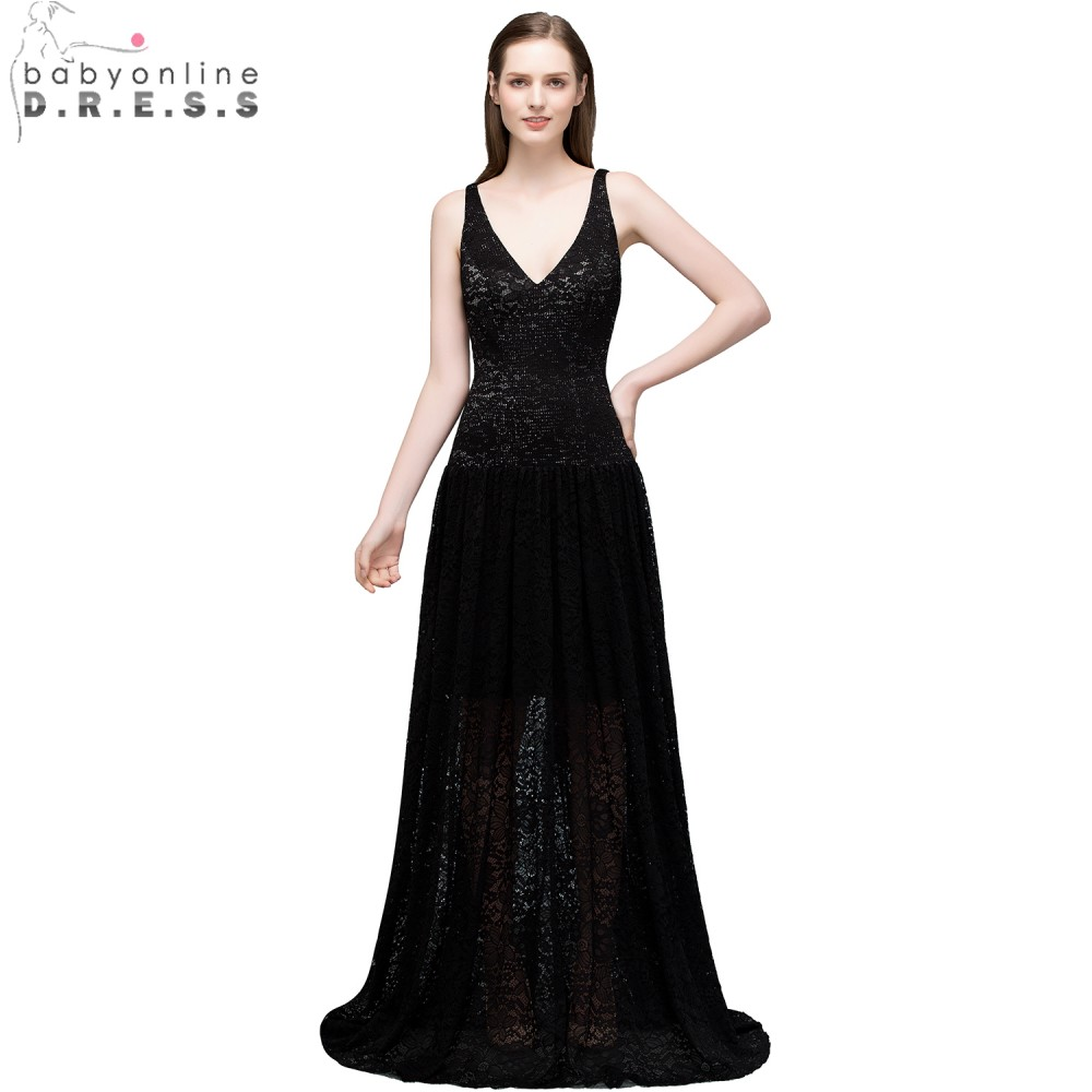 Babyonline Sexy V-Neck Black Lace   Evening     Dresses   Long 2018 Sleeveless Formal Party   Dresses   Prom   Evening   Gown vestidos de festa