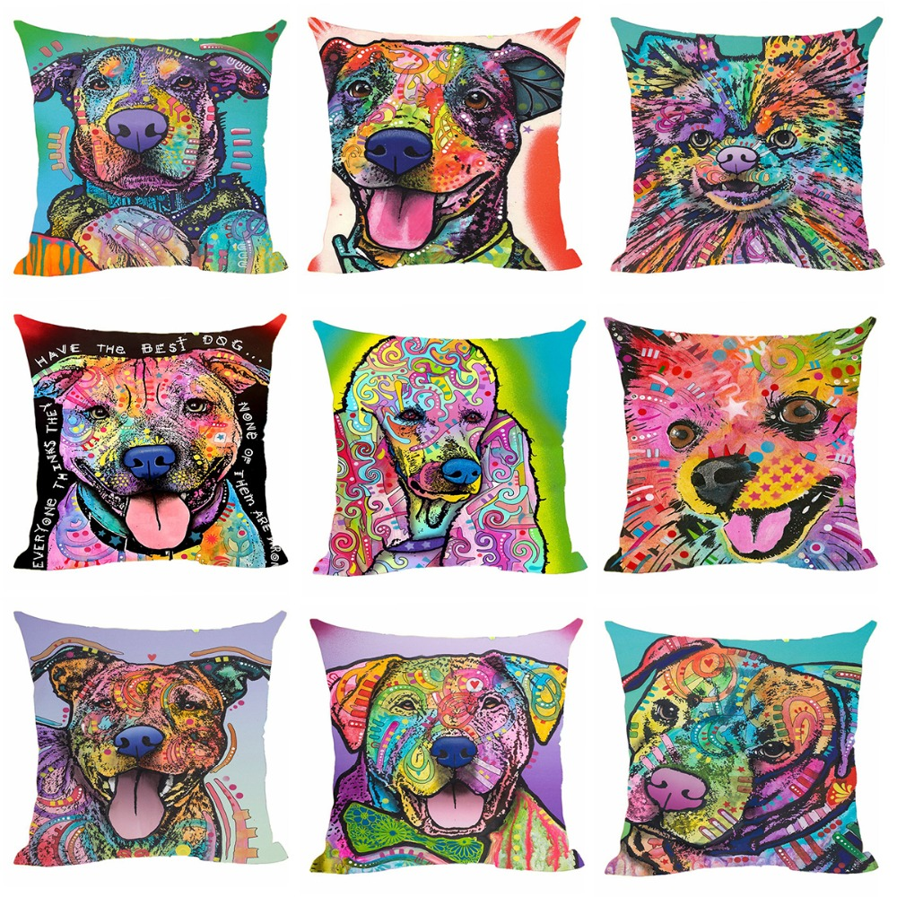 Animal Cushion Cover Pitbull Dog Decorative Cushion Covers For Children Sofa Car Chair Home Customized Throw Pilow Case For Gift