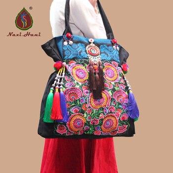 ec41d0f16f3d Новые хмонг Холст Вышивка женские сумки этнические сумки на плечо Винтаж  ручной кисточкой повседневная lagre сумки
