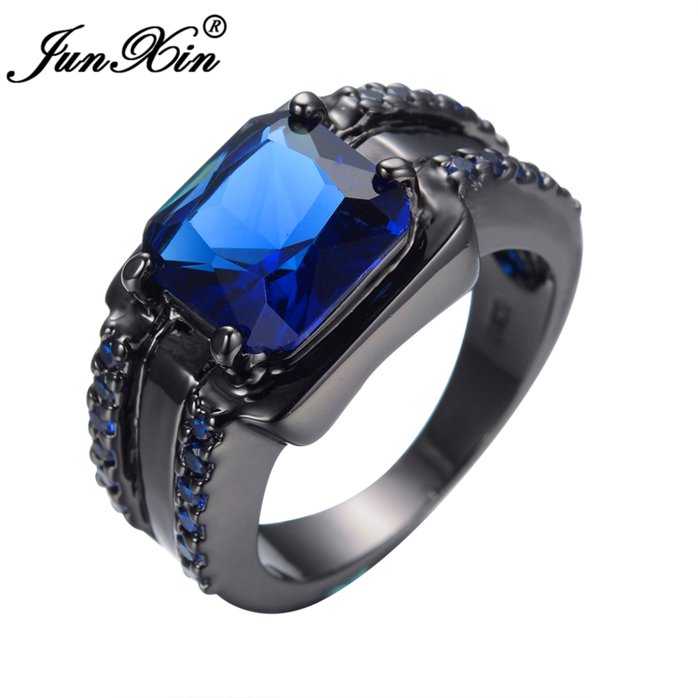Junxin Gorgeous Male Big Blue Ring Fashion Black Gold Filled Jewelry High  Quality Vintage Wedding Rings