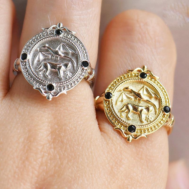 Креативная Регулируемая Игра престолов кольца в форме монеты кольца тотемный Дракон Волк для женщин мужчин очаровательные подарки модные