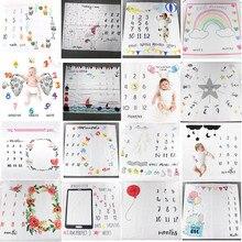Tapete de fundo para fotos, padrão de desenhos animados, bebê, milestone, adereços de foto, cobertores para brincar, pano de fundo, calendário, foto, acessórios nórdicos