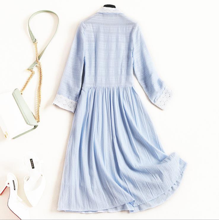 Coton Évider 2019 Trois quarts Femmes Style Nouveau Américain Européen Et Manches De Revers Robe Bleu Mode Printemps Yb6gvyf7